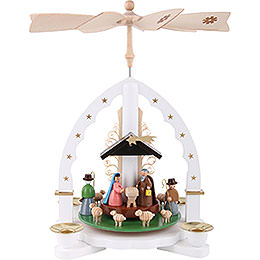 1 - stöckige Pyramide Christi Geburt  -  weiß  -  27cm