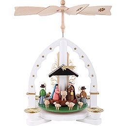 1 -  tier Pyramid Nativity Scene  -  white  -  11 inch  -  27cm