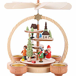 1 - tier pyramid with colored figurines  -  24cm / 9.5inch