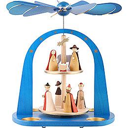 2 - stöckige Pyramide Christi Geburt, blau lasiert  -  29cm