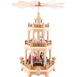 2 - stöckige Pyramide Christi Geburt, bunt  -  42cm