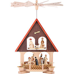 2 -  tier Pyramid - house Nativity Scene  -  14 inch  -  36cm