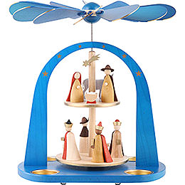 2 - tier pyramid Nativity scene, blue  -  29cm / 11.4inch