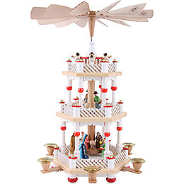 3 -  tier Pyramid Nativity Scene white  -  16 inch  -  40cm