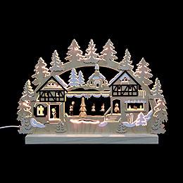3D - Doppelschwibbogen  -  Seiffener Weihnachtsmarkt  -  42 x 30 x 4,5cm