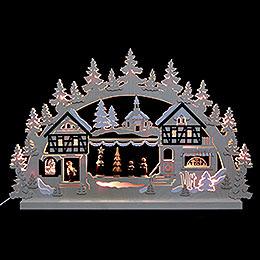 3D - Doppelschwibbogen  -  Seiffener Weihnachtsmarkt  -  74 x 47 x 5,5cm
