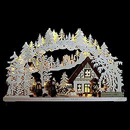 3D - Schwibbogen Waldhüter mit gedrechselten Figuren  -  72x43x8cm