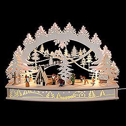 """3D - Schwibbogen """"Waldlichtung"""" mit beweglichen Figuren und Räucherhaus  -  68x46x17cm"""