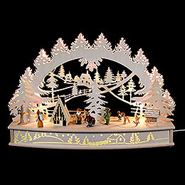 "3D candle arch ""Life around the lodge"" with moving figurines and smoking house  -  68x46x17cm / 27x18x7inch"