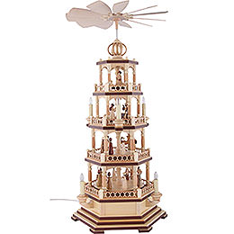 4 - tier pyramid  -  The Christmas Story  -  70cm / 28 inch  -  230 V electr. motor
