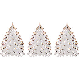 Additional trees with snow, set of three  -  5,5x5cm / 2.2x2inch