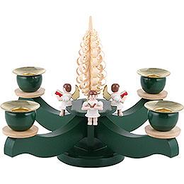 Adventsleuchter grün vier sitzende Engel mit Spanbaum  -  22x19cm