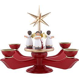 Adventsleuchter rot mit stehenden Engeln und Stern  -  23cm