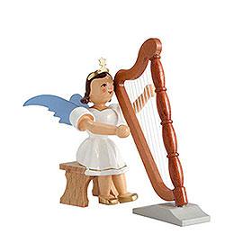 Angel short skirt colored, harp sitting  -  6,6cm / 2.5inch