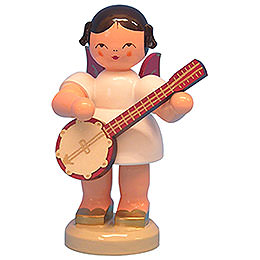 Angel with Banjo  -  Red Wings  -  Standing  -  9,5cm / 3,7 inch