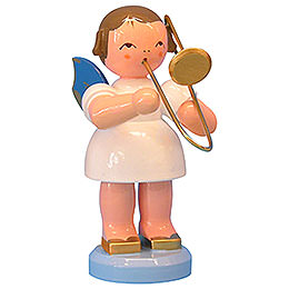 Angel with French Horn  -  Blue Wings  -  Standing  -  9,5cm / 3,7 inch