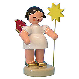 Angel with Star  -  Red Wings  -  Standing  -  6cm / 2,3 inch