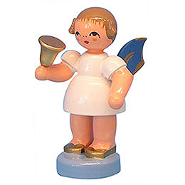 Angel with bell  -  Blue Wings  -  standing  -  6cm / 2,3 inch
