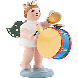 Angel with crown and large drum with cymbal  -  6,5cm / 2.5inch