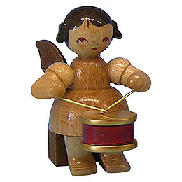 Angel with drum  -  natural colors  -  sitting  -  5cm / 2 inch