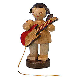 Angel with electric guitar  -  natural colors  -  standing  -  6cm / 2,3 inch