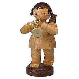 Angel with flugelhorn  -  natural colors  -  standing  -  6cm / 2,3 inch