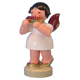 Angel with harmonica  -  Red Wings  -  standing  -  6cm / 2,3 inch