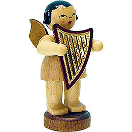 Angel with lyre  -  natural  -  standing  -  6cm / 2.3inch