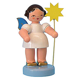 Angel with star  -  Blue Wings  -  standing  -  6cm / 2,3 inch