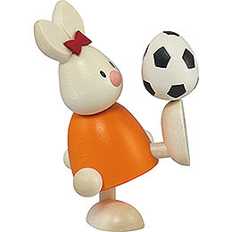 Bunny Emma with football  -  9cm / 3.5inch
