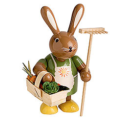 Bunny female with rake  -  11cm / 4 inches