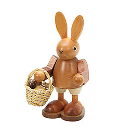 Bunny with Eggs in Basket  Natural Colors  -  9,0cm / 4 inch