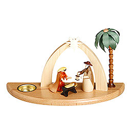 Candle Holder Nativity Scene  -  17cm / 7 inch