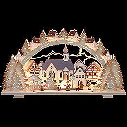 Candle arch Christmas time natural wood exclusive  -  72x41x7cm / 28x16x3inch