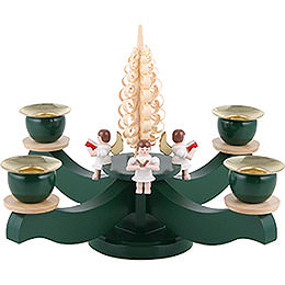 Candle holder advent four sitting angels with wood chip tree  -  22x19cm / 8.7x7.5inch