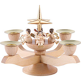 Candle holder with Angels  -  gold  -  5 inch  -  12cm