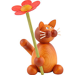 Cat Charlie with flower  -  8cm / 3.1inch