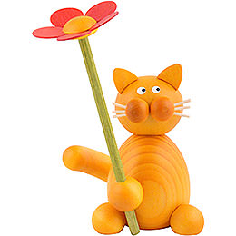 Cat Emmi with flower  -  8cm / 3.1inch