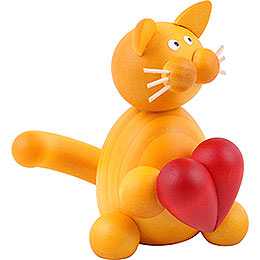 Cat Emmi with heart  -  8cm / 3.1inch