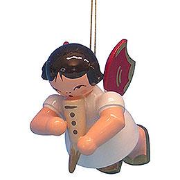 Christbaumschmuck Engel mit Gemshorn  -  Rote Flügel  -  schwebend  -  5,5cm