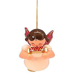 Christbaumschmuck Engel mit Mundharmonika  -  Rote Flügel  -  schwebend  -  5,5cm