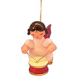 Christbaumschmuck Engel mit Trommel  -  Rote Flügel  -  schwebend  -  5,5cm