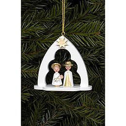 Christbaumschmuck Heilige Familie im Bogen weiss  -  6,5 x 6,2cm