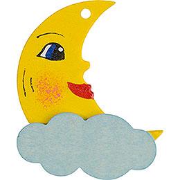 Christbaumschmuck Mond gelb und blau  -  5cm
