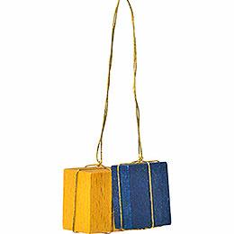 """Christbaumschmuck """"Pakete gelb/blau""""  -  3cm"""