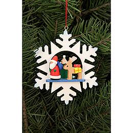 Christbaumschmuck Schneeflocke Weihnachtsmann mit Rentier  -  9,0x9,0cm