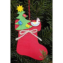 Christbaumschmuck Stiefel mit Weihnachtsbaum  -  6,2 x 11,6cm