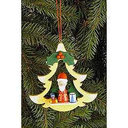 Christbaumschmuck Tanne mit Weihnachtsmann  -  8,5 x 8,7cm