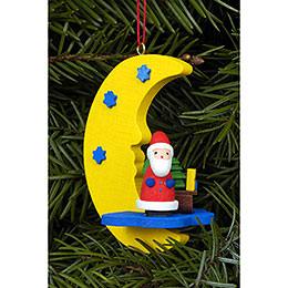 Christbaumschmuck Weihnachtsmann am Mond  -  4,5 x 6,3cm