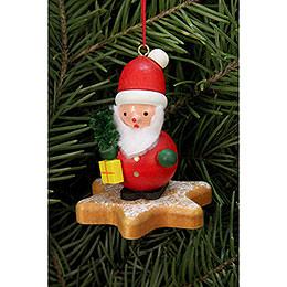 Christbaumschmuck  -  Weihnachtsmann auf Lebkuchenstern  -  5,2 x 5,9cm